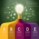 Creative concept infographic with lighting bulb — Wektor stockowy