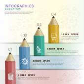 Education infographic design with colorful pencils — Stock Vector