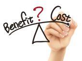 Equilíbrio entre benefício e custo, escrito à mão 3d — Vetor de Stock