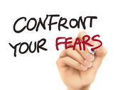 Confront your fears words written by 3d hand  — Stock Vector