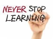 Никогда не прекращайте обучения слова, написанные в 3d руки — Cтоковый вектор