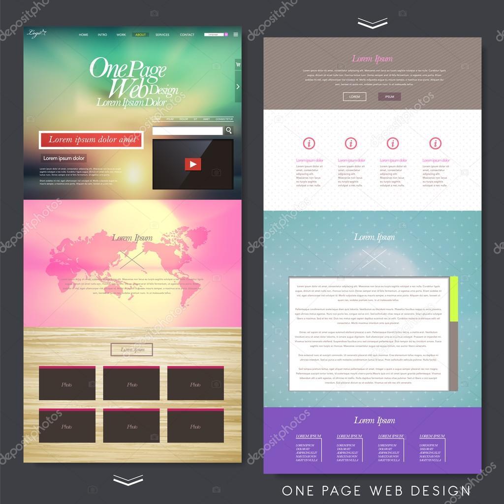 모던 한 페이지 웹사이트 디자인 서식 파일 — 스톡 벡터 ...