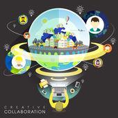 Creative collaboration through internet in flat design  — Stok Vektör