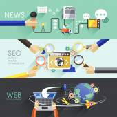 Flat design of news, SEO and web  — Vettoriale Stock