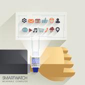 Businessman's hand with smart watch — Wektor stockowy
