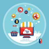 Online shopping concept in flat design  — Stock Vector