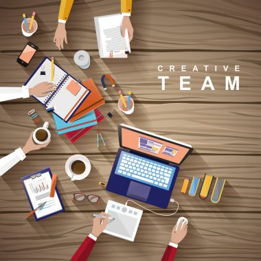 Working place of creative team in flat design