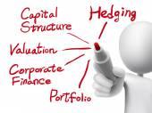 Corporate finance concept written by 3d man  — Vector de stock