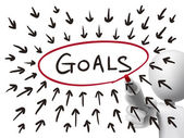 Goals concept drawn by 3d man — Stock Vector