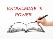 Knowledge is power written by human hand — Stock Vector