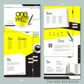 One page website template design with stationery — Stockvektor