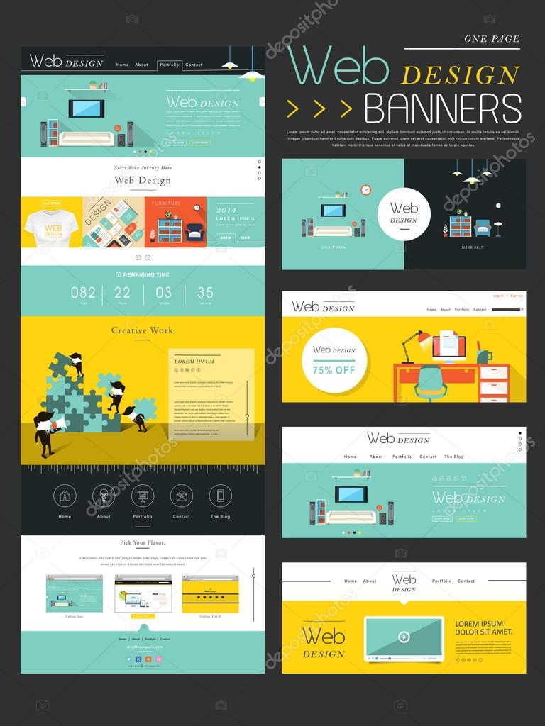 flat style one page website template design stock vector kchungtw 59275105