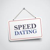 Speed dating hanging sign — Stock Vector