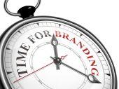 Time for branding concept clock  — Stock Vector