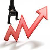 Businessman walking on a growing arrow  — Stock Vector