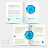 Half-fold brochure template with geometric blue crystal elements — Stock Vector
