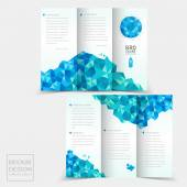 Tri-fold brochure design with geometric blue crystal elements — Stock Vector