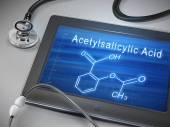 Acetylsalicylic acid words display on tablet  — Stock Vector