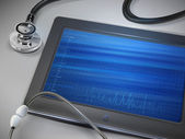 Blank tablet with stethoscope — Stockvektor