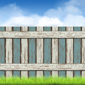 Wooden fence with green grass and blue sky — Stock Vector