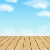 Wooden planks over blue sky scenery — Stock Vector