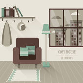 Cozy house interior in flat design style — Stock Vector