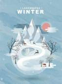 Frozen winter landscape in flat design  — Stock Vector