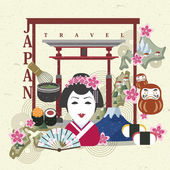 Japan travel concept in flat design   — Stock Vector
