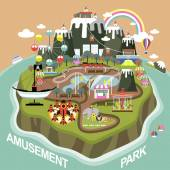 Amusement park in flat design — Stock Vector