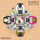 Teamwork meeting in flat design  — Stock Vector