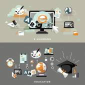 Education concept banners in flat design  — Vecteur