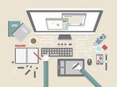 Modern workplace in flat design — Stock Vector