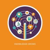Knowledge grows concept in falt design — Stock Vector