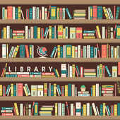 Library scene illustration in flat design — Stock Vector