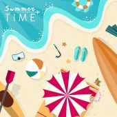 Summer beach scenery illustration in flat design — Stockvektor