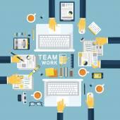 Teamwork concept illustration in flat design — Stock Vector
