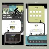 Modern bicycle sport one page website design — Vetor de Stock