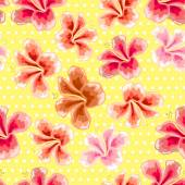 Floral texture with stylish seamless hibiscus pattern  — Stockvektor