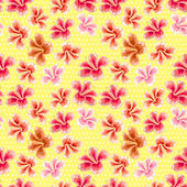 Floral texture with stylish seamless hibiscus pattern  — Vetorial Stock