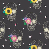 Special seamless pattern with skull and flowers — Vetorial Stock