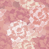 Elegant peony seamless floral pattern background  — Stockvector