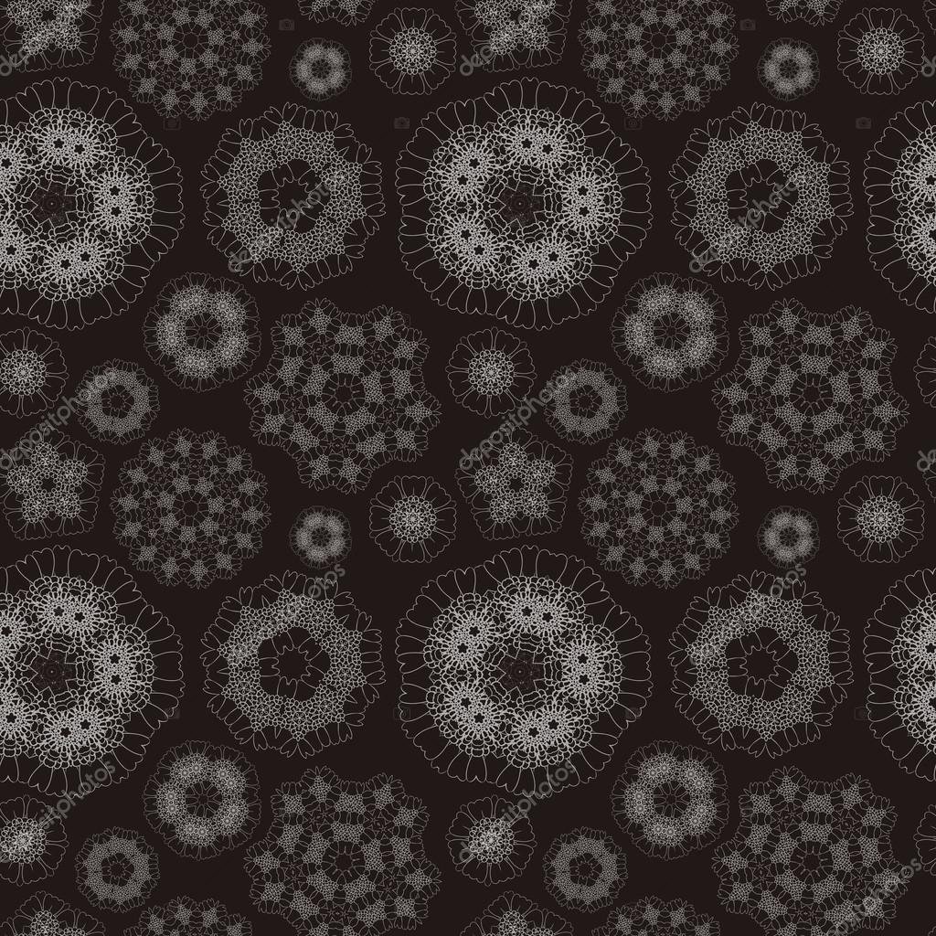 优雅几何无缝花纹在黑色的背景– 图库插图