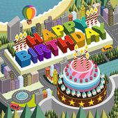 Flat 3d isometric city scenery with big birthday cake  — Vecteur