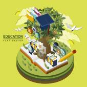 Flat 3d isometric education concept illustration over green — Stock Vector