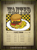 Creative fast food menu design — Stock Vector