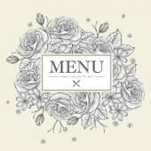 Изящный ресторан меню дизайн с розами — Cтоковый вектор