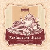 Graceful afternoon tea menu design — Stock Vector
