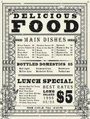 Vintage restaurant menu poster design — Stock Vector