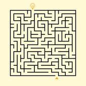 Creative square maze with bulb icon — Stok Vektör