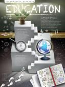 Education infographics wooden framed blackboard — Stock vektor